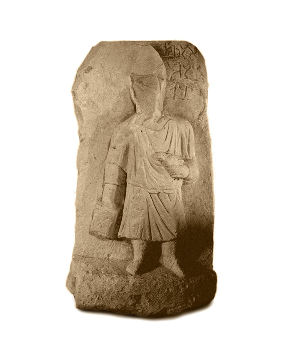 Stele with a standing boy holding tablets and a bird