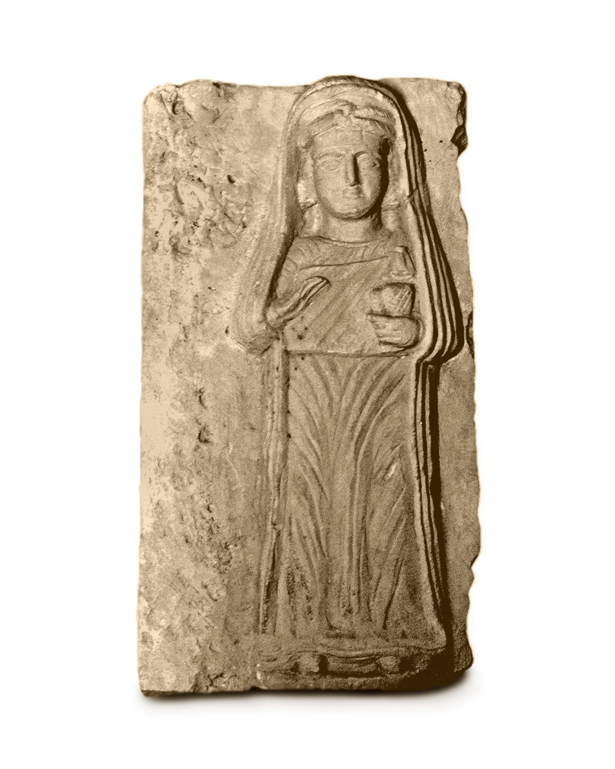 Stele with a standing woman holding spindle and distaff.